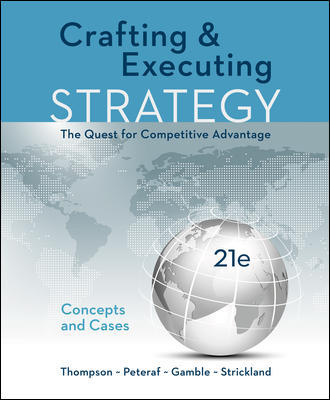 Test Bank For Crafting & Executing Strategy: The Quest for Competitive Advantage: Concepts and Cases 21st Edition By Arthur Thompson Jr, Margaret Peteraf, John Gamble, A. Strickland, III ISBN 10: 1259732789, ISBN 13: 9781259732782