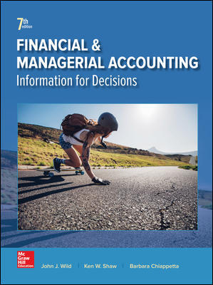 Test Bank for Financial and Managerial Accounting 7th Edition By John Wild, Ken Shaw, Barbara Chiappetta ISBN 10: 1259726703, ISBN 13: 9781259726705