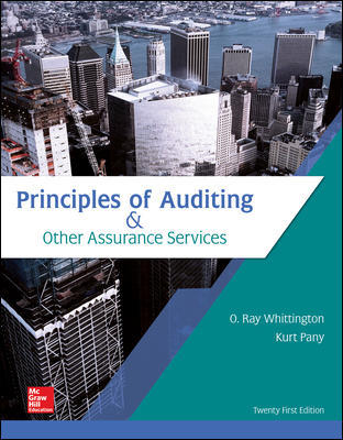 Test Bank for Principles of Auditing & Other Assurance Services 21st Edition By Ray Whittington, Kurt Pany, ISBN 10 1259916987, ISBN 13 9781259916984