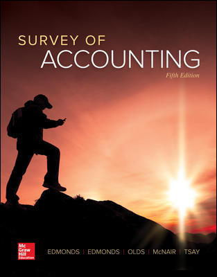 Test bank for Survey of Accounting 5th Edition By Thomas Edmonds, Christopher Edmonds, Philip Olds, Frances McNair, Bor-Yi Tsay, ISBN 10: 1259631125, ISBN 13: 9781259631122