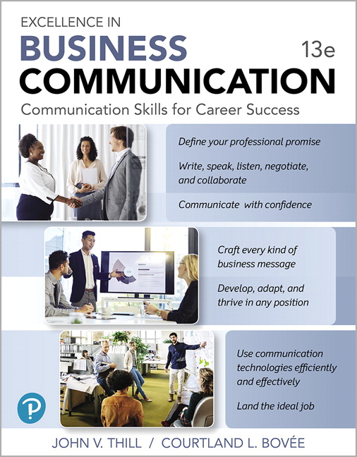 Test Bank For Excellence in Business Communication , 13th Edition By John V. Thill, Courtland L. Bovee,ISBN-13:9780135202203