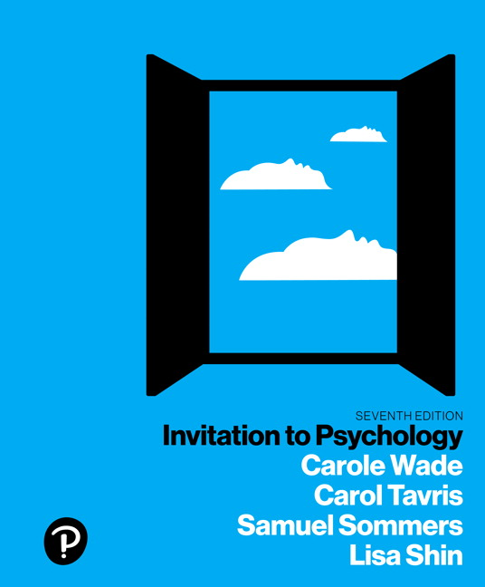 Solution Manual For Invitation to Psychology Plus NEW MyLab Psychology with Pearson eText 7th Edition By Carole Wade, Carol Tavris, Samuel R. Sommers, Lisa M. Shin, ISBN-10: 0134891848, ISBN-13: 9780134891842