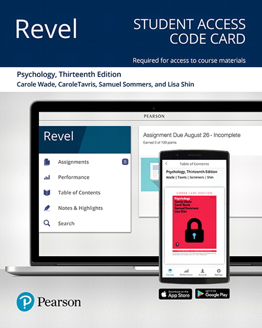Test Bank For Revel for Psychology 13th Edition By Carole Wade, Carol Tavris, Samuel R. Sommers, Lisa M Shin, ISBN-10 0135212626, ISBN-13 9780135212622