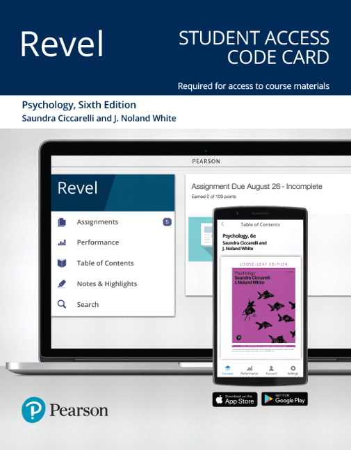 Test Bank For Revel for Psychology 6th Edition By Saundra K. Ciccarelli, J. Noland White, ISBN-10 013521243X, ISBN-13 9780135212431